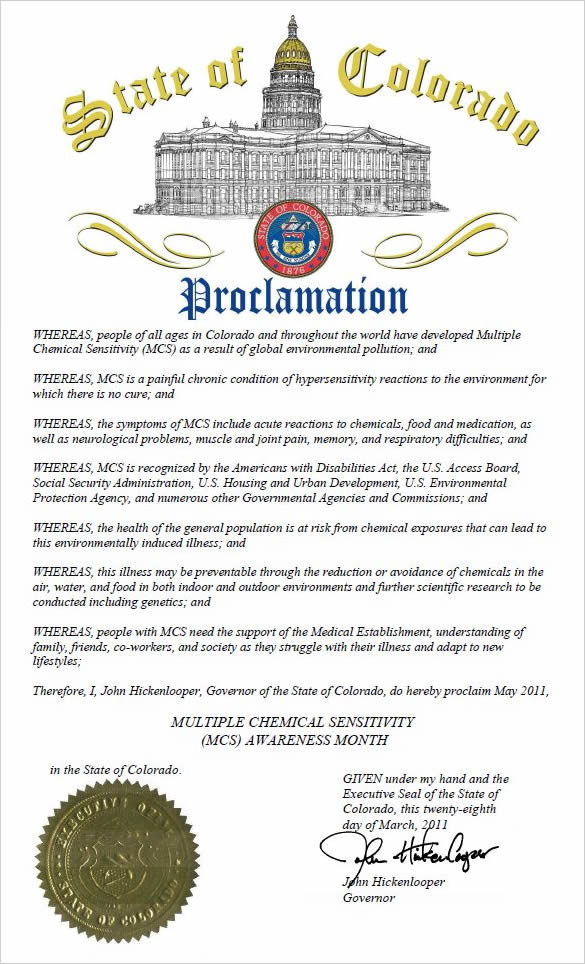 State of Colorado Proclamation
