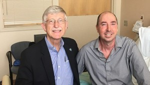 NIH Director Francis Collins, left, and Brian Vastag