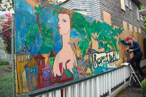 Tara Stansberry and mural