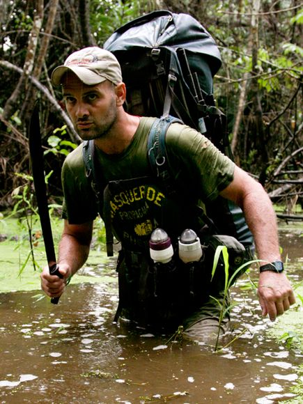 Photo: Ed Stafford walking in the amazon river